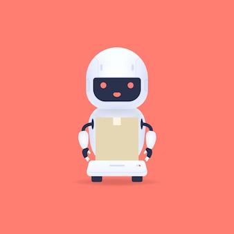 흰색 친화적 로봇 택배 인공 지능 기술