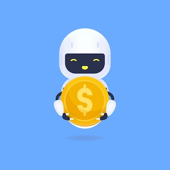 White friendly robot holding a gold coin.