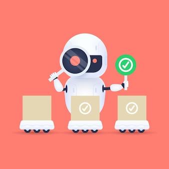 돋보기를 통해 찾고 흰색 친절 로봇
