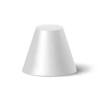White frustum of cone with shadow.  illustration.
