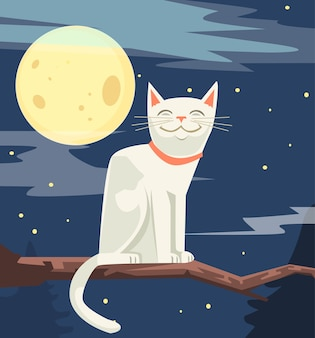 White funny cat character sitting on tree branch cartoon illustration