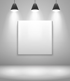 White gallery interior with frame. wall and picture, exposition and blank. vector illustration