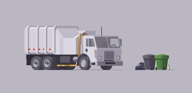 白いごみ収集車。サイドローダー。ゴミの積み込み。孤立したイラスト。コレクション