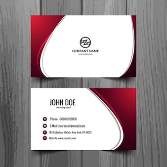 White and garnet shiny visiting card
