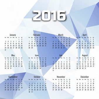 White geometric 2016 calendar