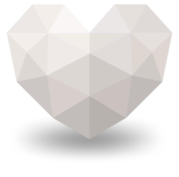 Cuore geometrico bianco isolato