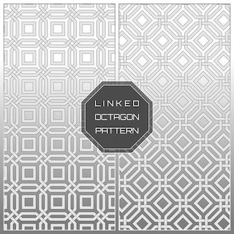 White geometric linked octagon pattern background