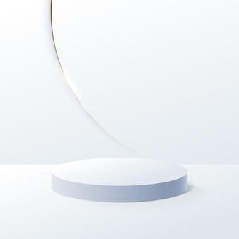 最小限のデザインで白い幾何学的な表彰台とゴールドの豪華なトリムの背景。