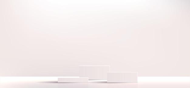 흰색 기하학적 연단 광장 및 화장품 제품 프레젠테이션을 위한 최소 상자 빈 쇼케이스