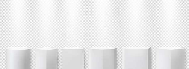 White geometric podiums with spotlights. stage exhibition pedestal for ceremonies, awards.
