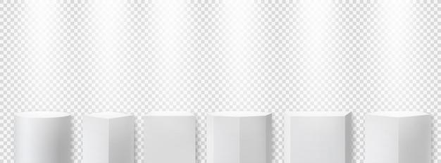 스포트라이트가 있는 흰색 기하학적 연단입니다. 시상식, 시상식을 위한 무대 전시 받침대.