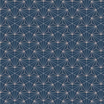 White geometric seamless patterns set on a blue background