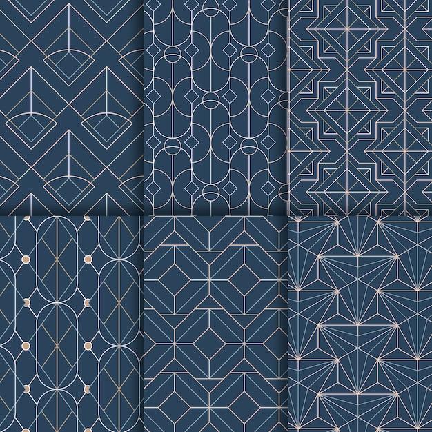 파란색 배경에 흰색 기하학적 완벽 한 패턴 설정