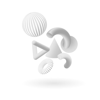 White geometric shapes in abstract form. vector illustration. white background.