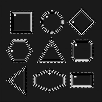 White geometric shapes in line style set