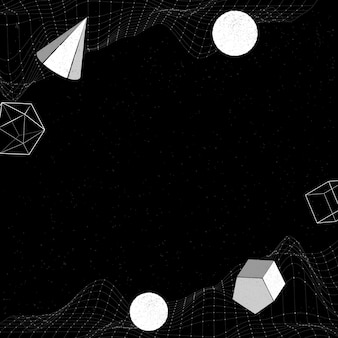 White geometric shapes on a wireframe wave patterned background
