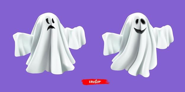 라일락 배경에 고립 된 흰색 유령 유령 할로윈 유령 괴물 무서운 정신 또는 poltergeis...