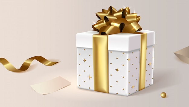 White gift box, closed. clip art illustration for site.