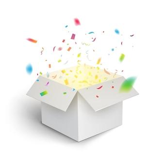 Белая подарочная коробка конфетти взрыв. украшение упаковки подарочной коробки волшебного открытого сюрприза.