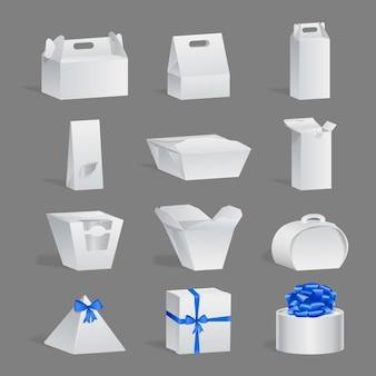흰색 선물 상자 패키지는 현실적인 디자인 템플릿을 설정합니다. 골판지 컨테이너 이랑 아이소메트릭