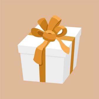 Белая подарочная коробка с золотой лентой и атласным бантом