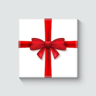 赤いリボンが付いている白いギフトボックス。お祝いの装飾デザインイラスト。ホリデーパッケージ要素。
