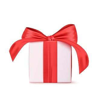 Белая подарочная коробка с красной лентой. на белом фоне. иллюстрация