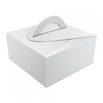 ケーキ用ハンドル付きホワイトギフト包装箱。結婚式のパーティーの装飾のための板紙包装容器テンプレート