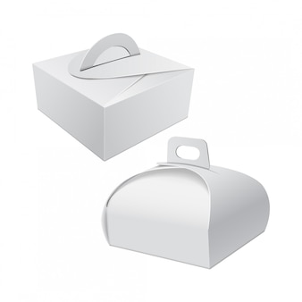 White gift packaging box with handle mockup for cake.
