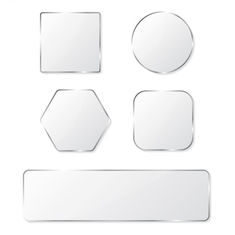 White glass buttons with chrome frame set