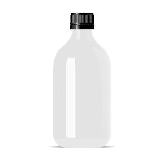White glass cosmetic bottle. medical vial vector.