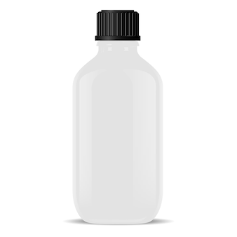 White glass medical bottle isolated realistic vial