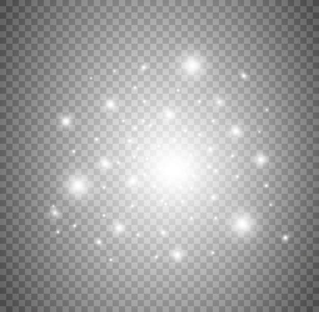 白い星ダストトレイル輝く粒子と白いキラキラ波抽象的なイラスト