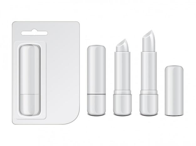 白い光沢のある閉じた状態と開いた状態のリップクリームスティック、段ボールパックを備えた現実的な衛生的な口紅。空白のデザインテンプレートのセット