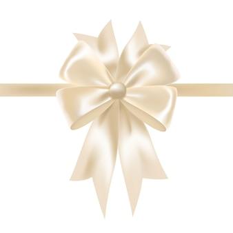 弓で飾られた白い光沢のあるサテンのリボンまたはテープ