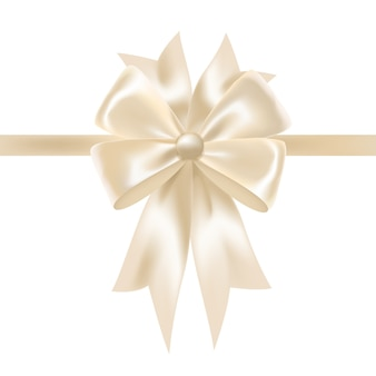 White glossy satin ribbon or tape decorated with bow