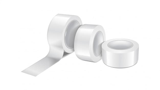 흰색 광택 스카치 테이프 롤. 스티커 테이프, 접착 테이프 롤의 현실적인 템플릿 집합
