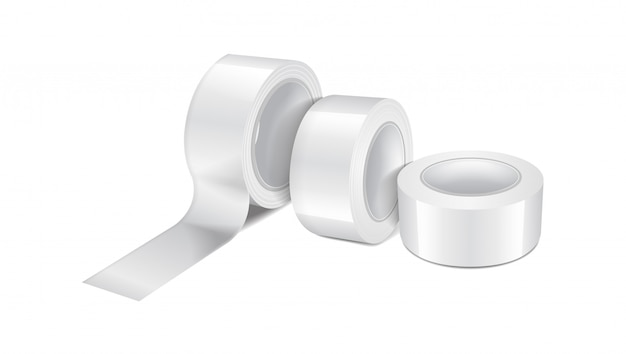 White glossy scotch tape roll. set of  realistic  template of sticky tape, adhesive tape roll
