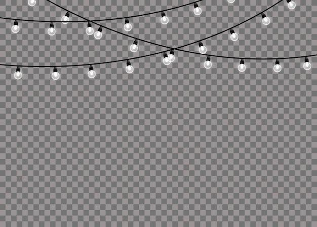 Лампа белого свечения на проволочных струнах, изолированные на прозрачном фоне. гирлянды украшения. огни изолированные реалистка (ст) дизайн элементы.