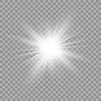 White glowing light. beautiful star light from the rays. sun with lens flare. bright beautiful star. sunlight.