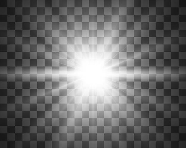 흰색 빛나는 빛. 광선에서 아름 다운 별 빛입니다. 하이라이트가있는 태양. 밝고 아름다운 별. 태양 빛.