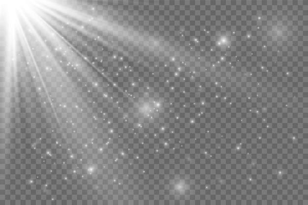 흰색 빛나는 빛. 광선에서 아름 다운 별 빛입니다. 렌즈 플레어가있는 태양. 밝고 아름다운 별. 햇빛.