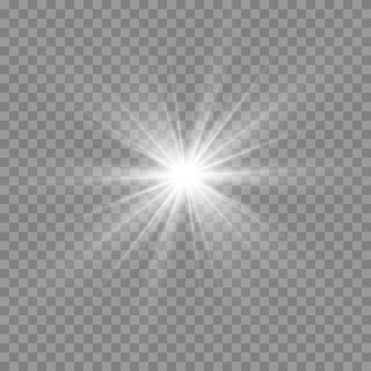 白く光る光。美しい星光線からの光。レンズフレアのある太陽。明るく美しい星。