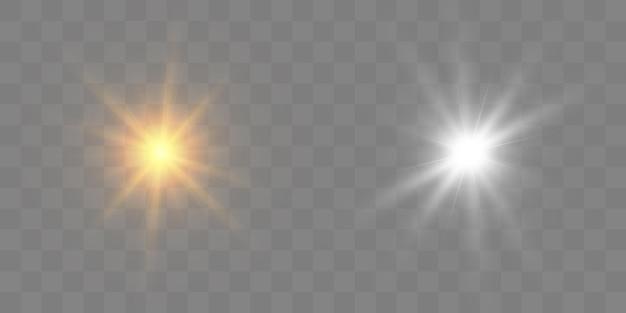 白く光る光。輝く星。輝く太陽、明るいフラッシュ。