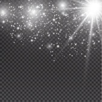 투명 한 배경에 흰색 빛나는 빛 버스트 폭발. 그림 광선 조명 효과 장식입니다. 밝은 별. 반투명 빛나는 태양, 밝은 플레어 중앙의 생생한 플래시 별과 태양