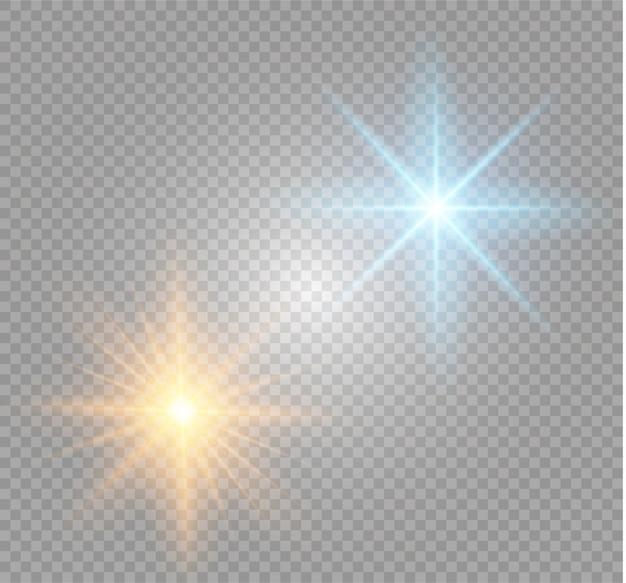Белый светящийся свет разразился взрывом с прозрачным. иллюстрация для прохладного эффекта украшения с лучами блестками. яркая звезда. прозрачный блеск, градиентный блеск, яркие блики.