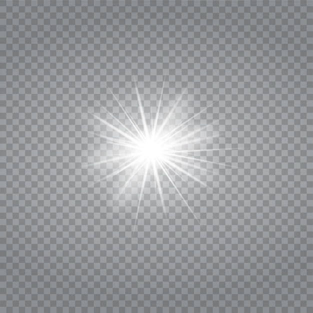 White glowing light burst explosion with transparent.