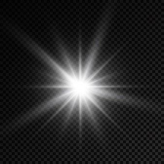 白く光る光バースト光る明るい星太陽光線光効果太陽光のフレア