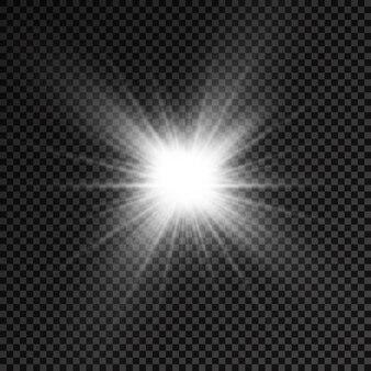 白く光る光バースト光る明るい星太陽光線光効果太陽のフレア