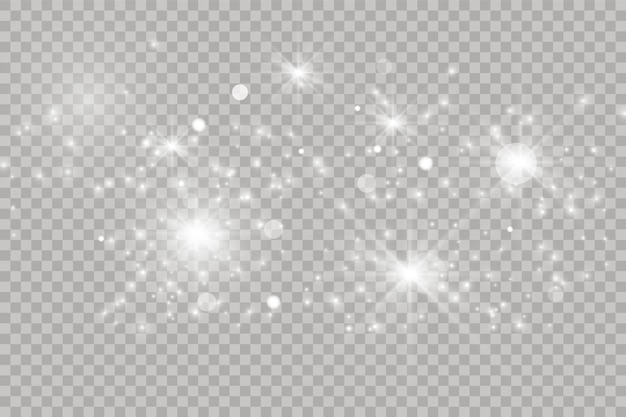 透明な背景に分離された白く光る光の効果。輝くフレア。魔法のキラキラダスト粒子。星がきらめきます。ベクトルイラスト